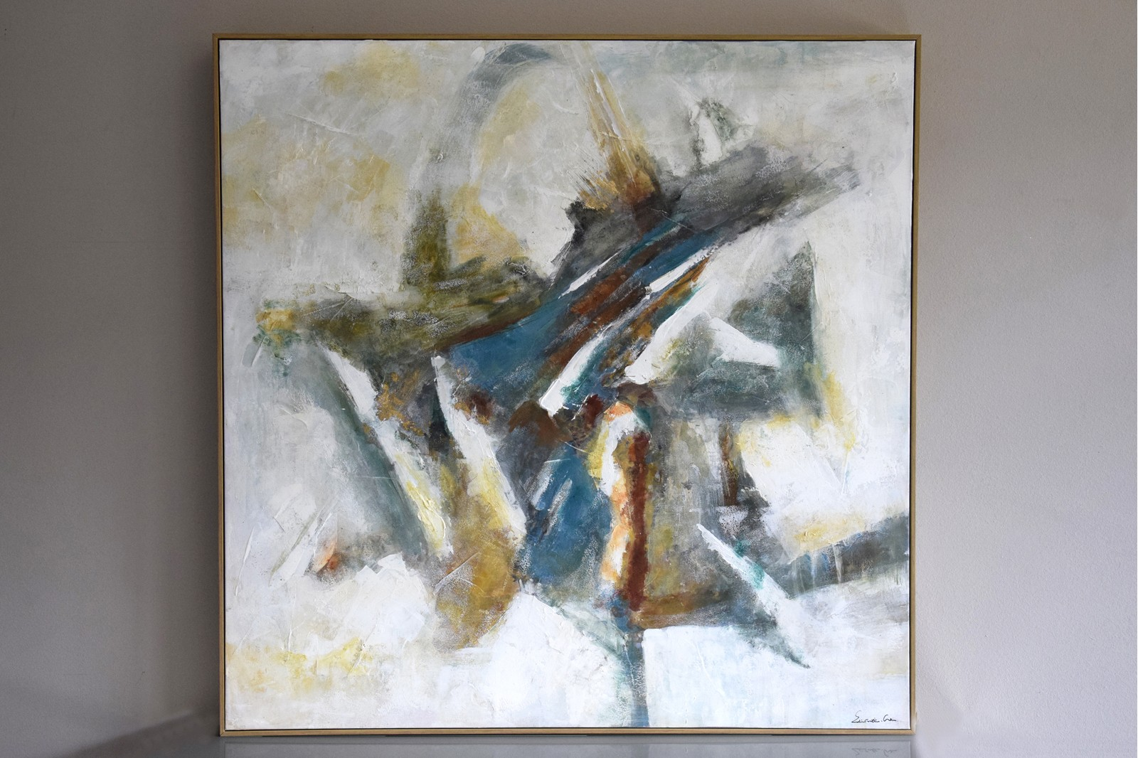 ABSTRACT PAINTING HERRINGBONE N2 WITH FRAME