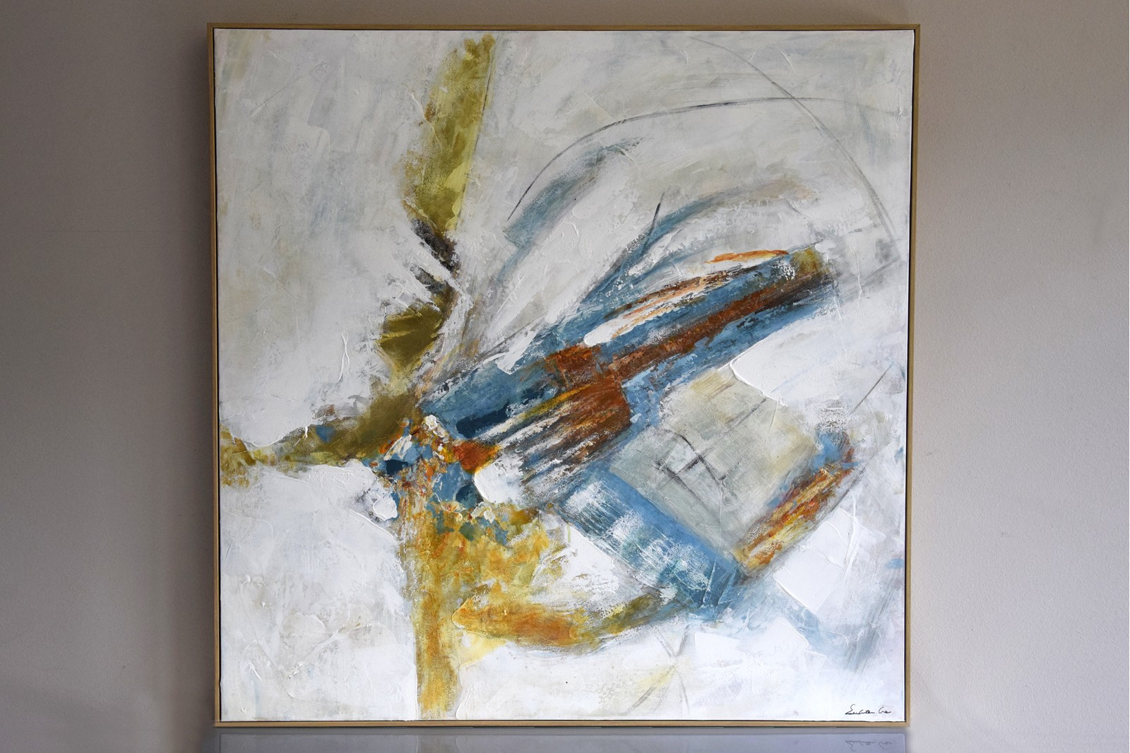 ABSTRACT PAINTING HERRINGBONE N1 WITH FRAME