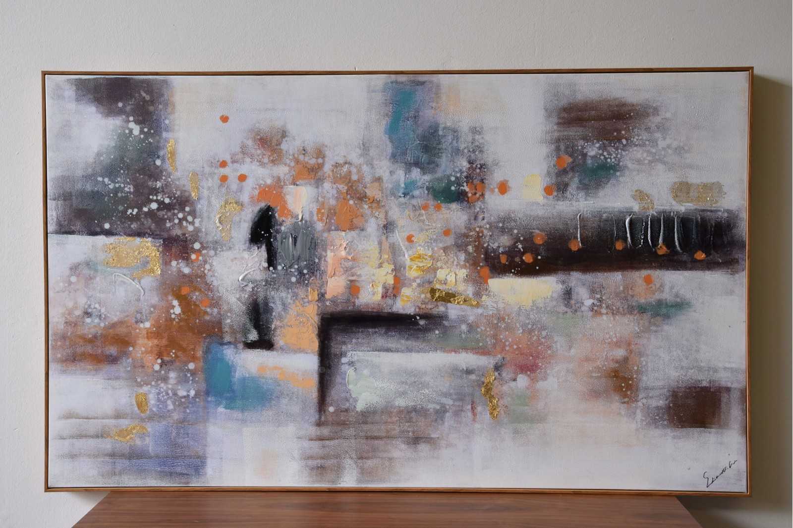 ABSTRACT PAINTING ON CANVAS WITH FRAME