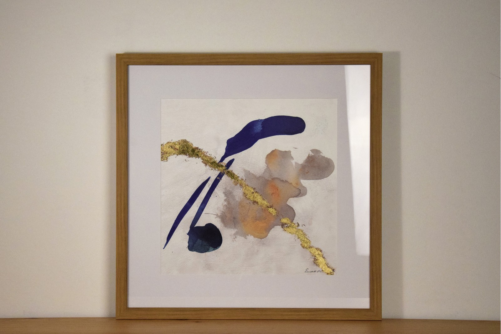 ABSTRACT PAINTING BLUE TRACE N2 WITH FRAME