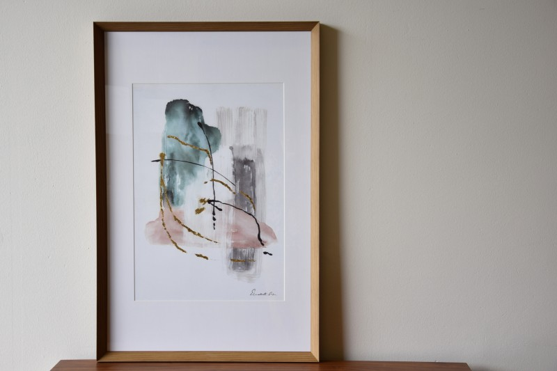 ABSTRACT PAINTING TRACES N4. GLASS