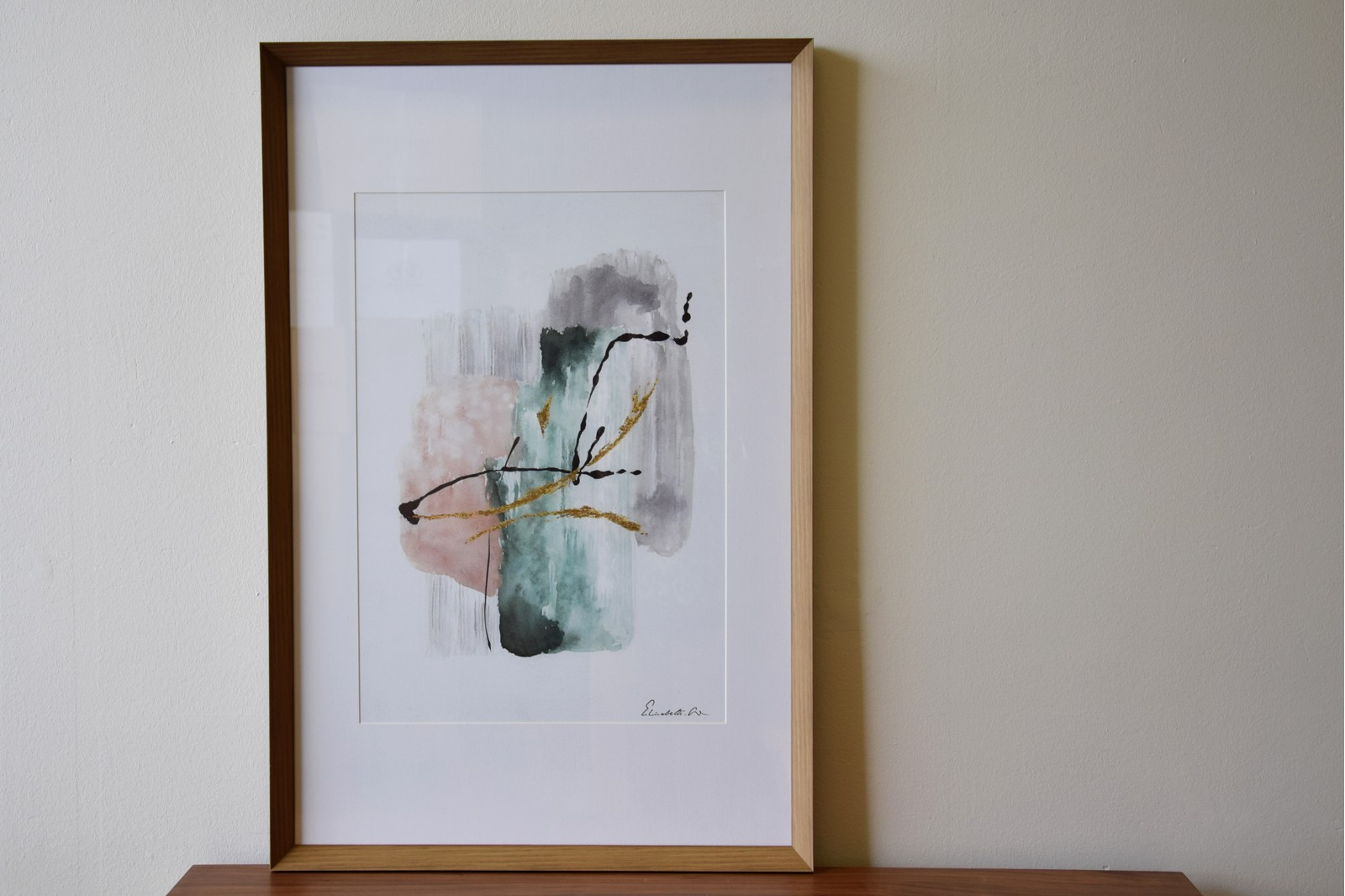 ABSTRACT PAINTING TRACES N3 ON PAPER WITH FRAME