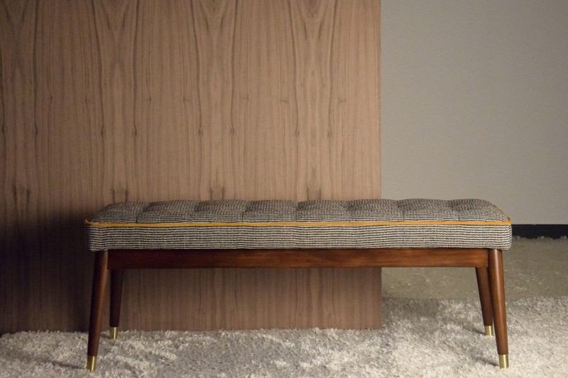 BENCH. BEIGE GREY AND BLACK PATTERN FABRIC