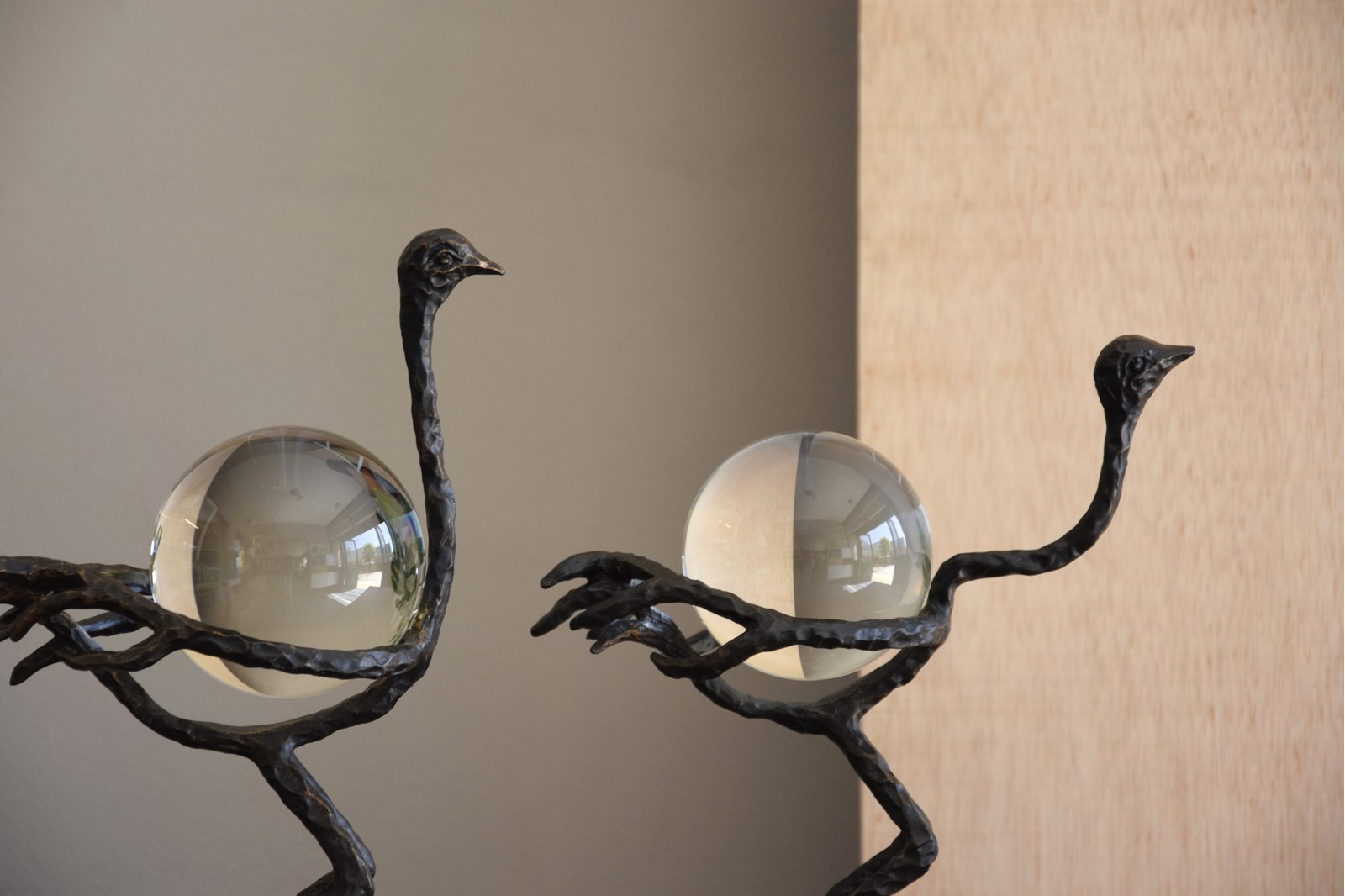 OSTRICH COLLECTION. METAL AND GLASS SCULPTURE