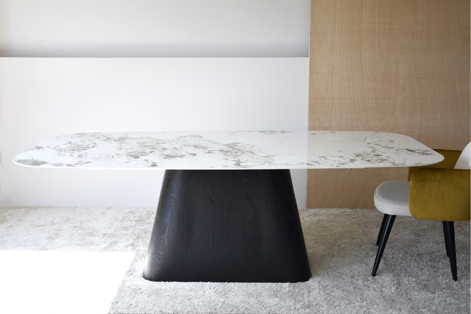 DINING TABLE. SINTERED STONE TOP.BLACK ASH BASE
