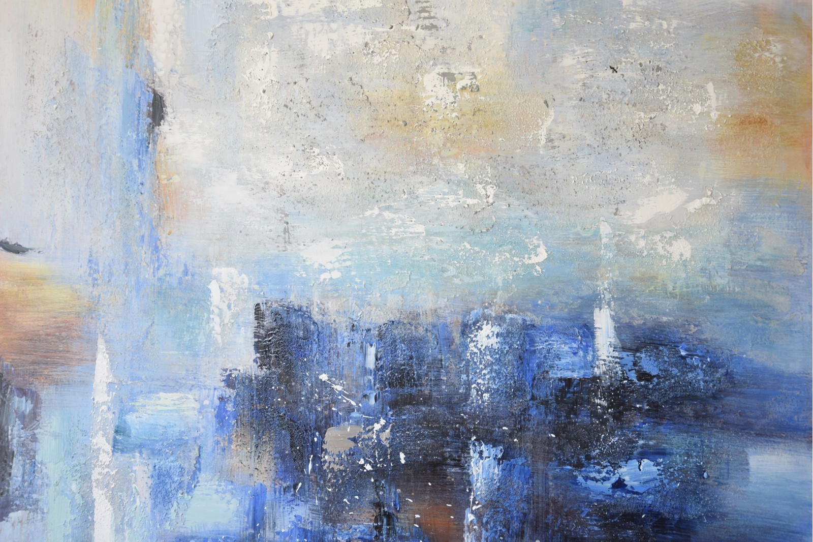ABSTRACT PAINTING OCEAN WITH FRAME