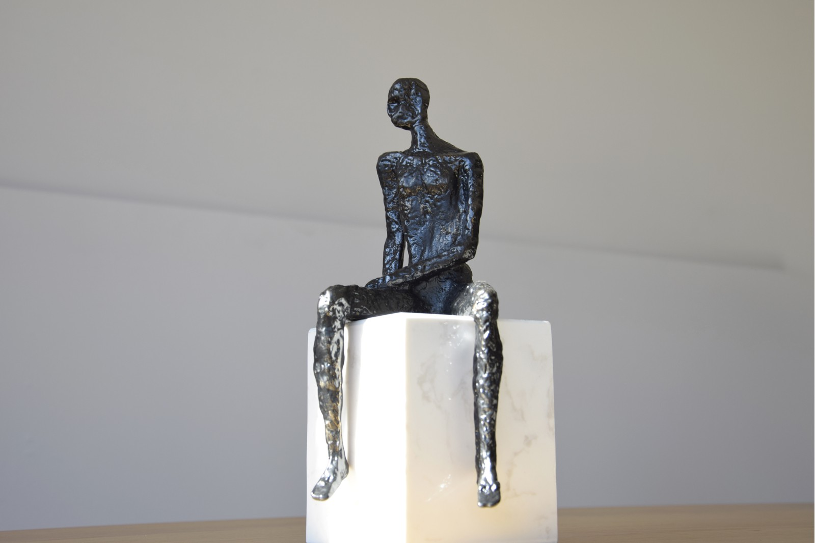 THINKING COLLECTION. METAL SCULPTURE ,WHITE MARBLE BASE