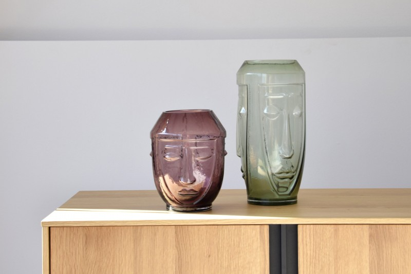 SET 2 GLASS VASES. THREE FACES GREEN AND PINK