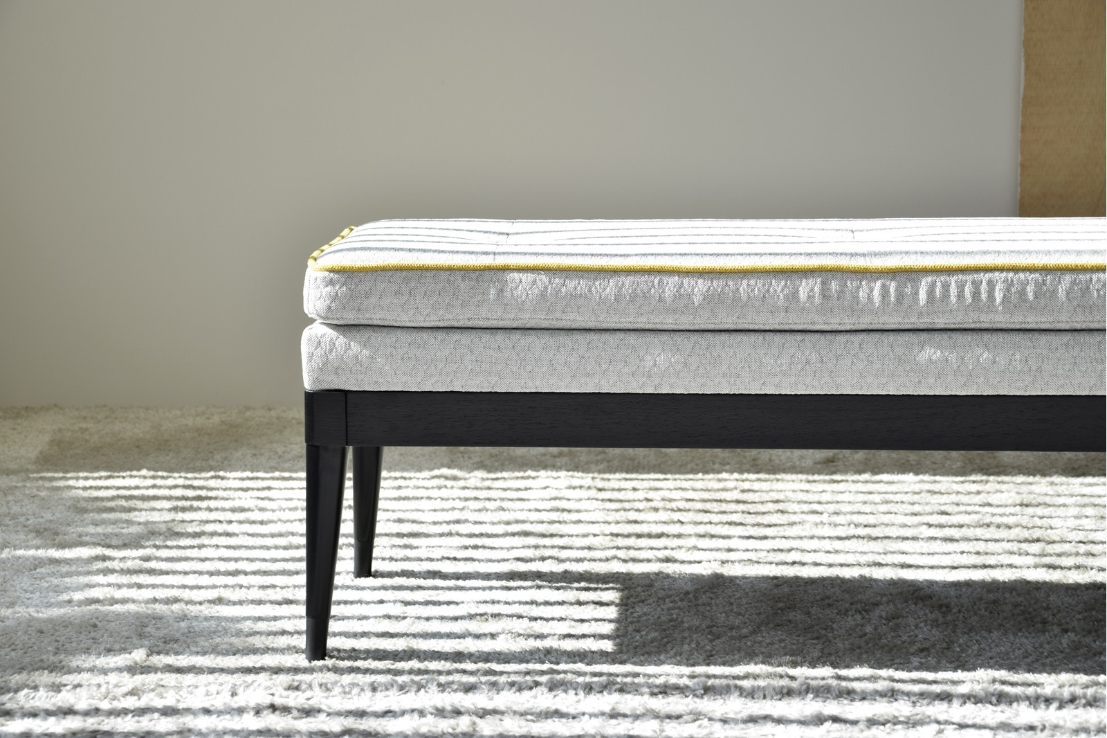 BENCH GREY AND MUSTARD COLOR. BLACK STRUCTURE