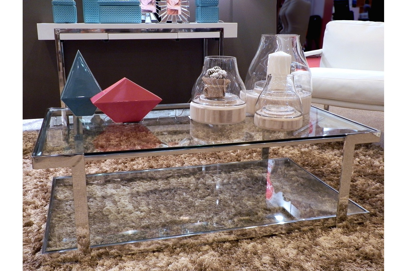 COFFEE TABLE STAINLESS STEEL/TEMPERED GLASS