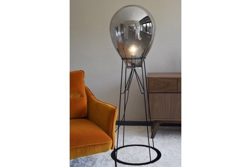 FLOOR LAMP AMENCER. GLASS-METAL