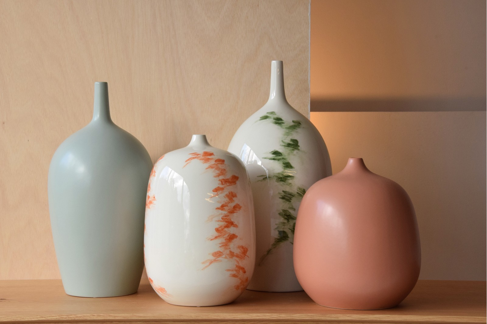 GREEN COLLECTION: HAND-PAINTED CERAMIC VASES