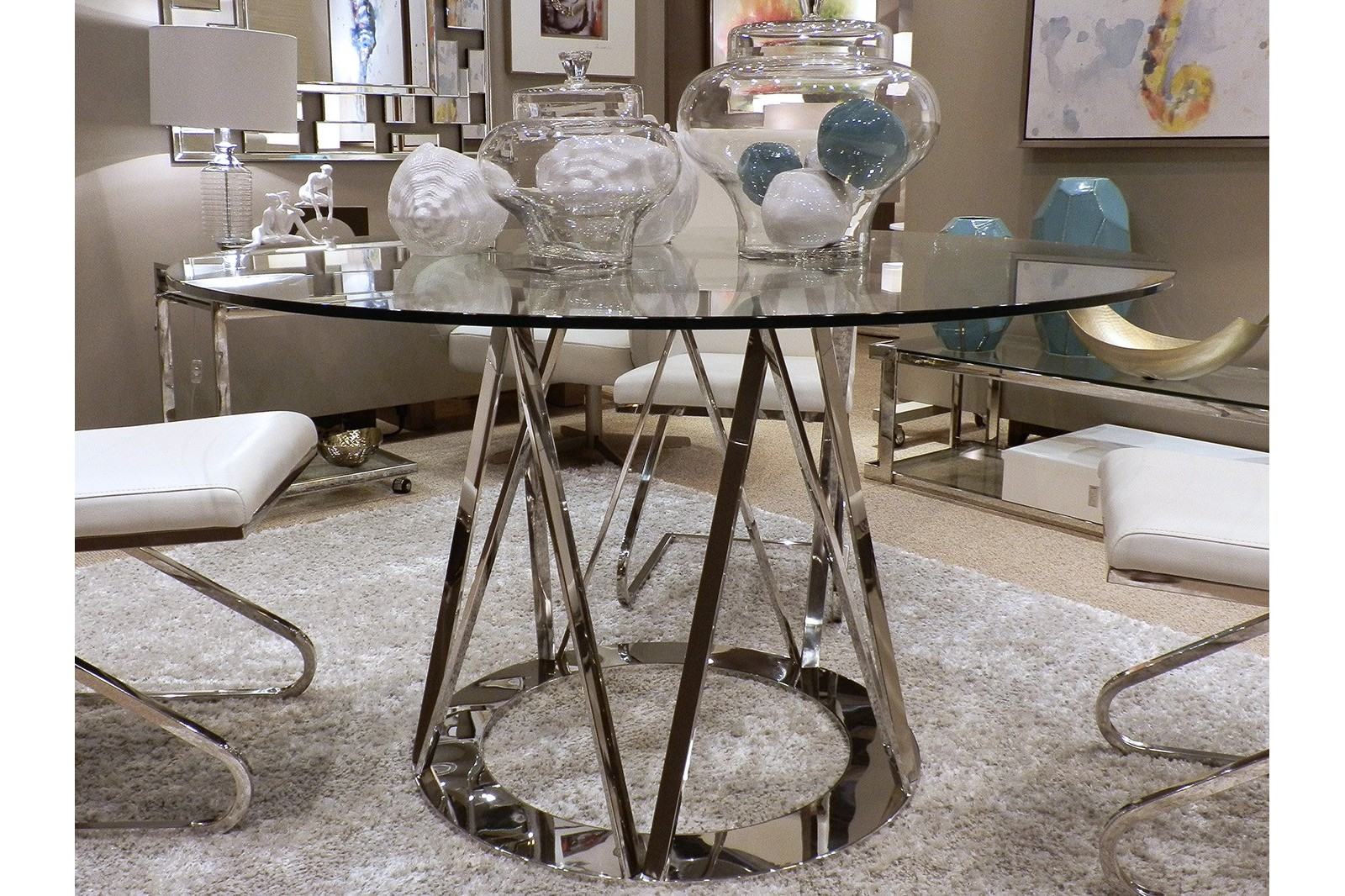 DINING TABLE STAINLESS STEEL/TEMPERED GLASS