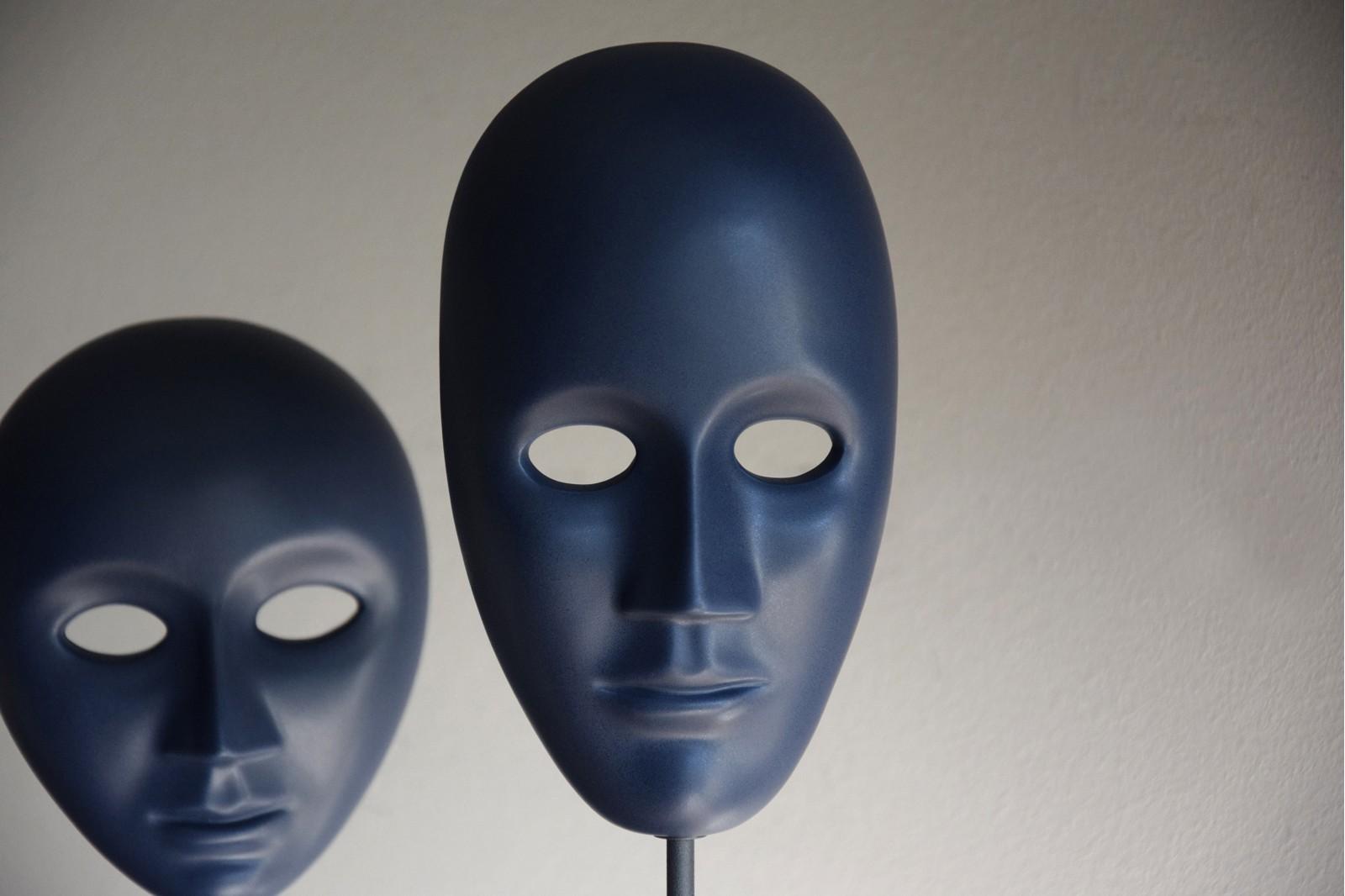 MASK COLLECTION. CERAMIC SCULPTURE BLUE NIGHT MATT