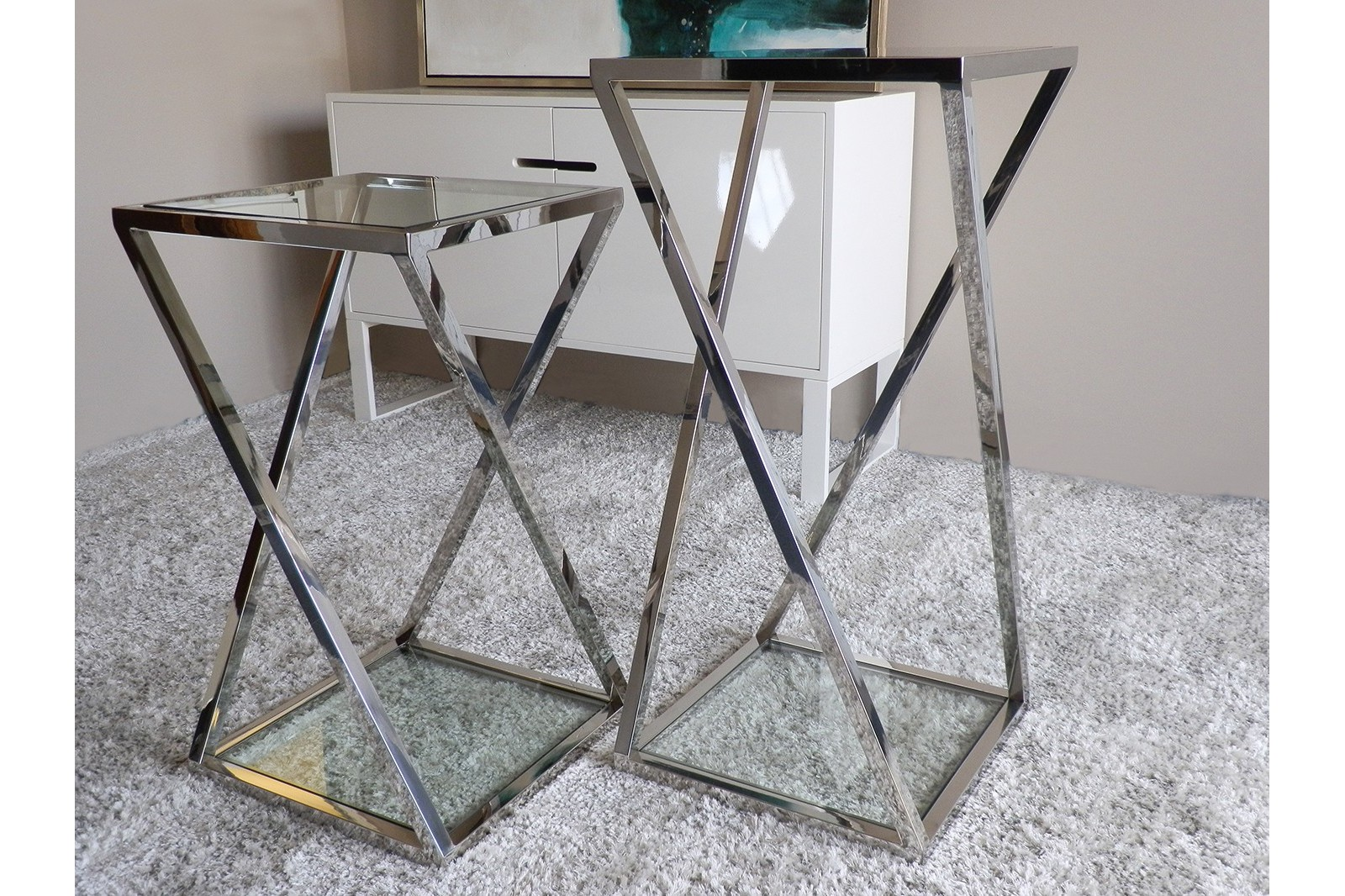 SIDE TABLE STAINLESS STEEL/TEMPERED GLASS