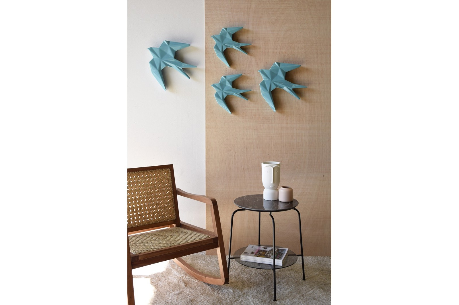 ANDURIÑA COLLECTION. GLOSSY BLUE CERAMIC WALL SCULPTURE