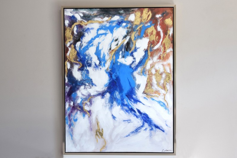 ABSTRACT PAINTING STORM N1 WITH FRAME