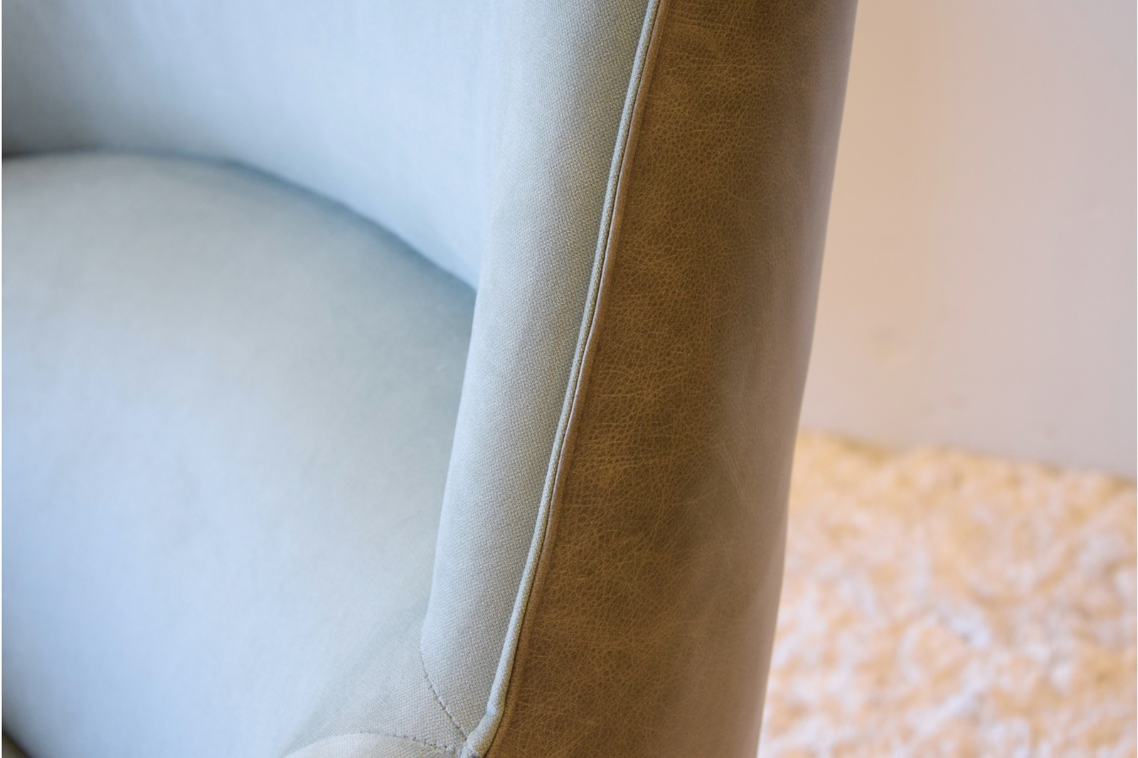 ARMCHAIR.GREEN-BLUE LEATHER ANDFABRIC COMBINATION