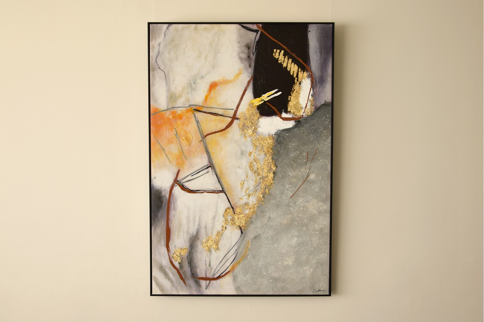 ABSTRACT PAINTING SUNSET WITH FRAME