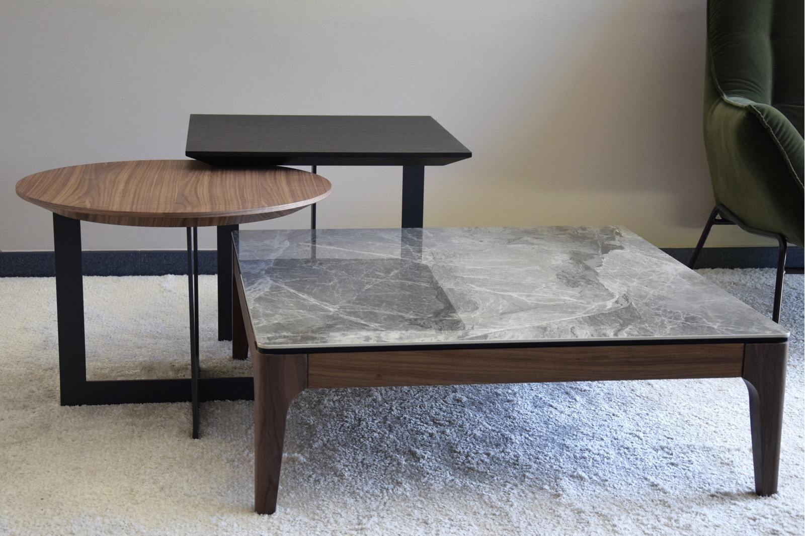 COFEE TABLE.GREEN GREY CERAMIC TOP AND WALNUT BASE