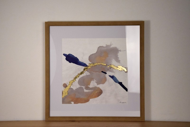 ABSTRACT PAINTING BLUE TRACE N1 WITH FRAME