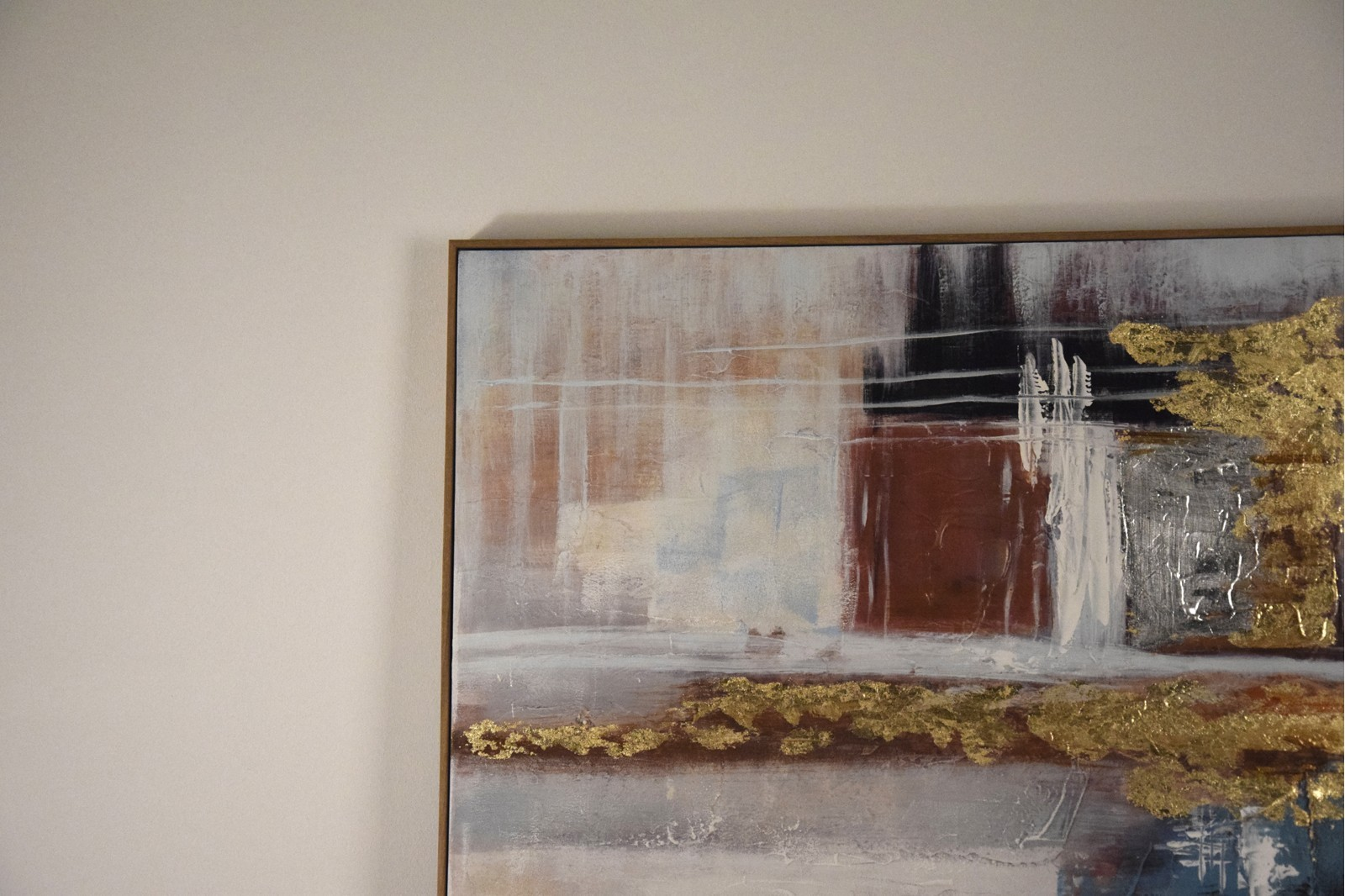 ABSTRACT PAINTING BLUE OCHRE WITH FRAME
