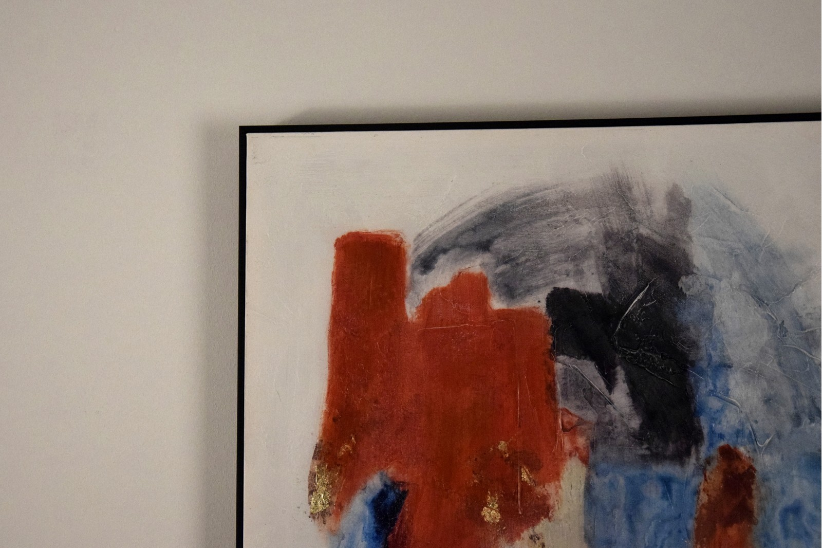 ABSTRACT PAINTING BLUE RED WITH FRAME