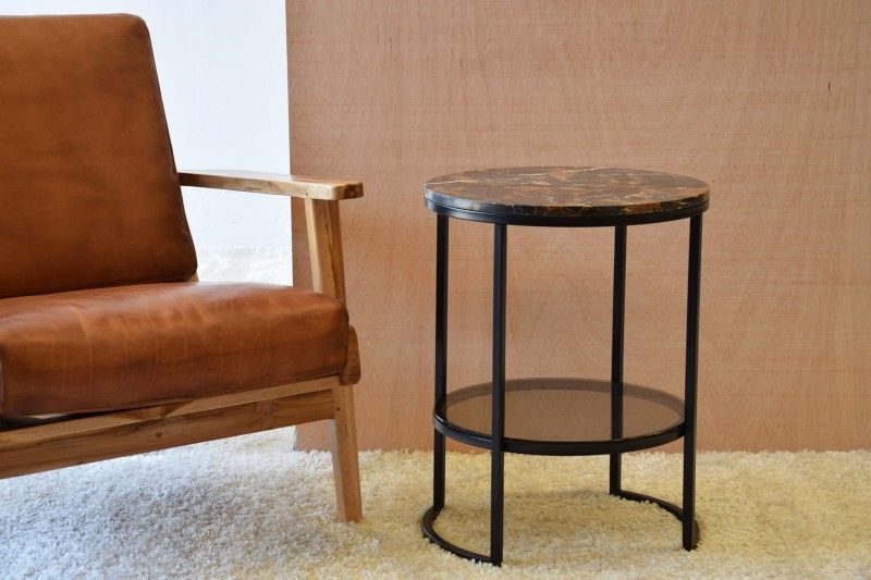 SIDE TABLE MARBLE TOP GLASS SHELF AND BLACK METAL