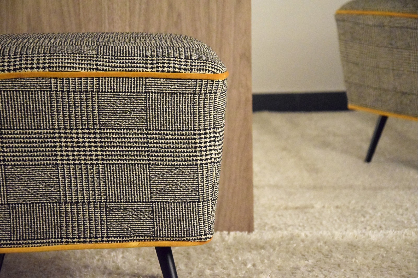 SQUARE STOOL.PRICE OF WALES UPHOLSTERY
