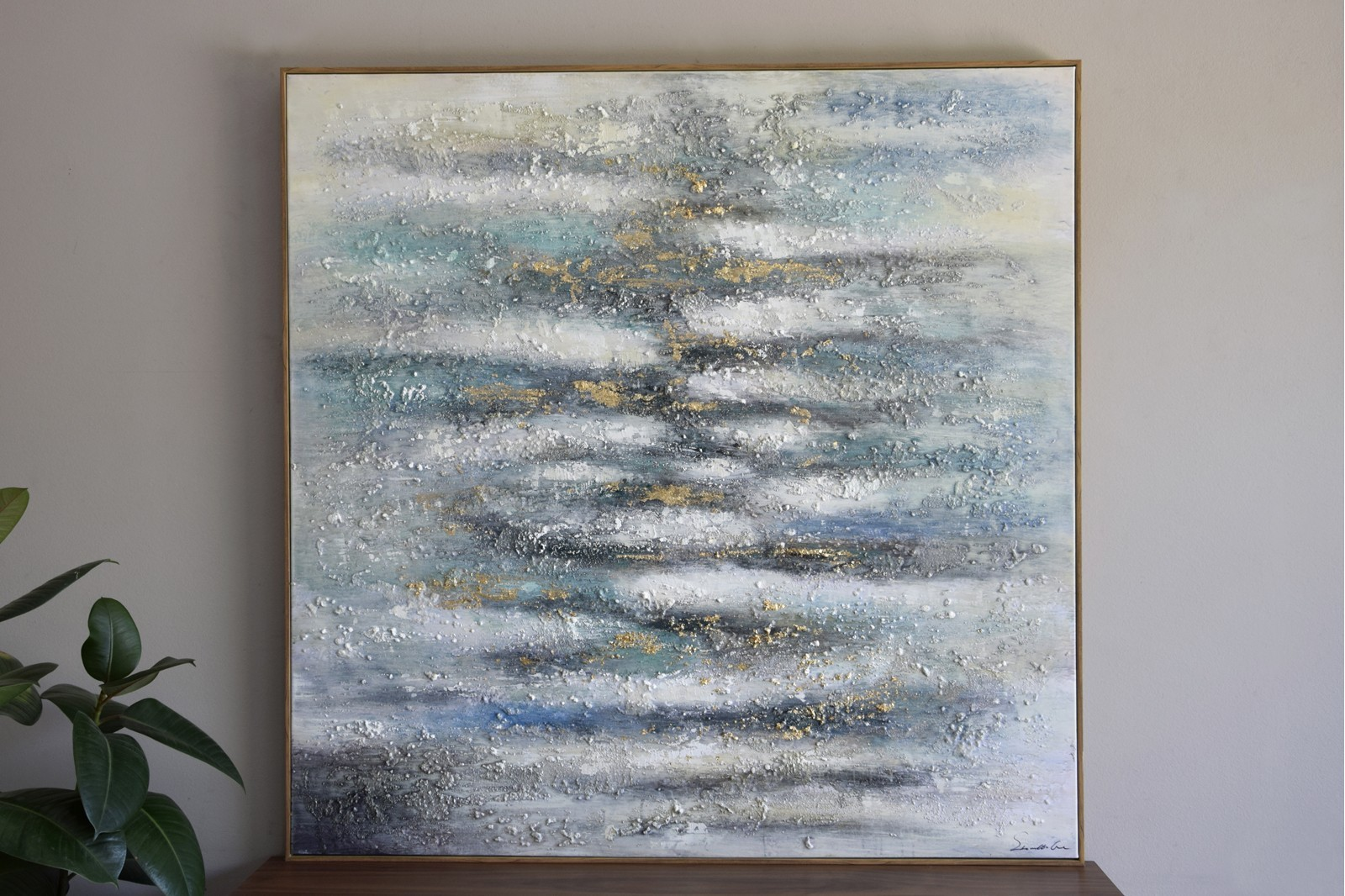 ABSTRACT PAINTING SEA N1 WITH FRAME