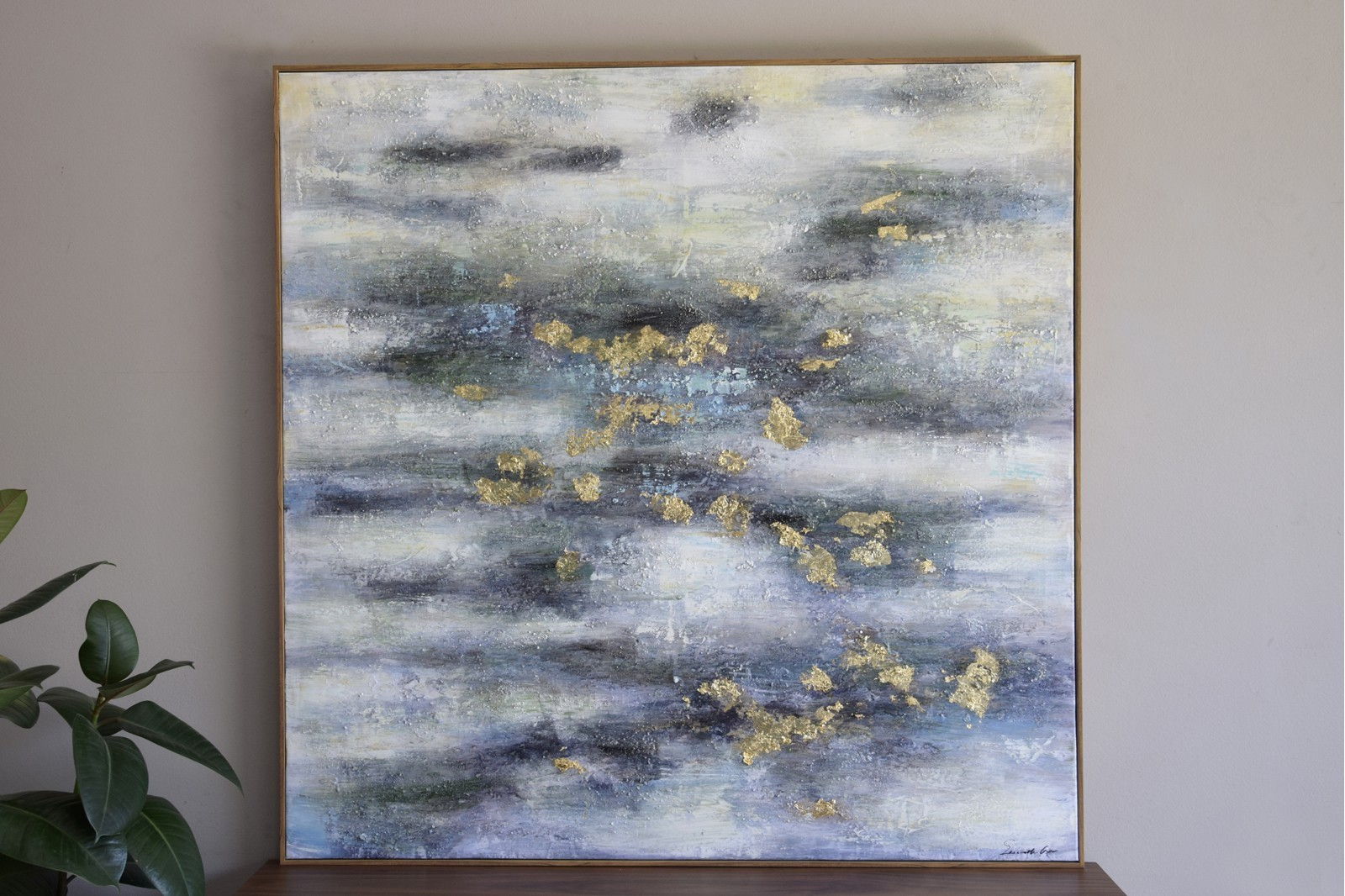 ABSTRACT PAINTING SEA N2 WITH FRAME