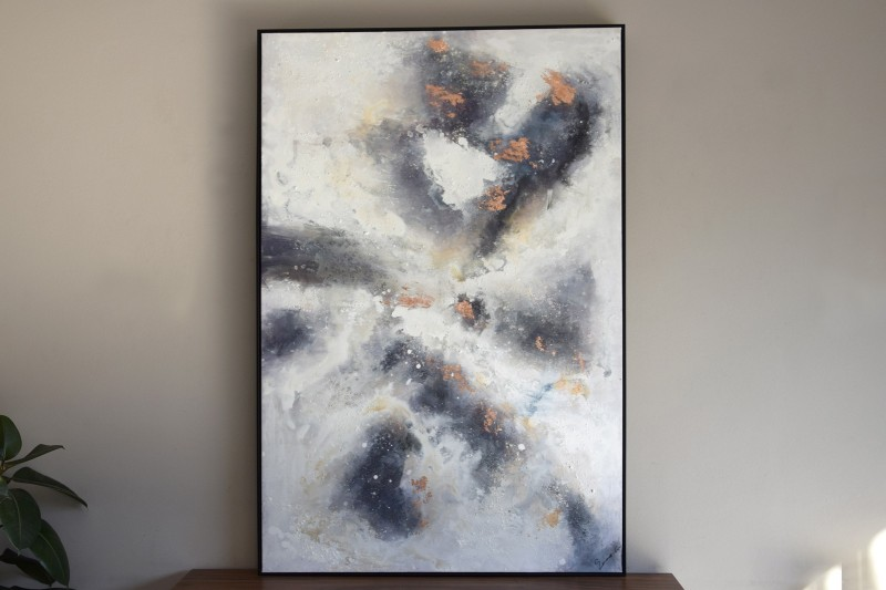 ABSTRACT PAINTING  COPPER N2 WITH FRAME