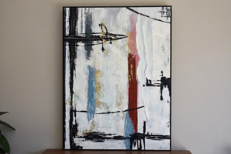 ABSTRACT PAINTING LINES N1 WITH FRAME