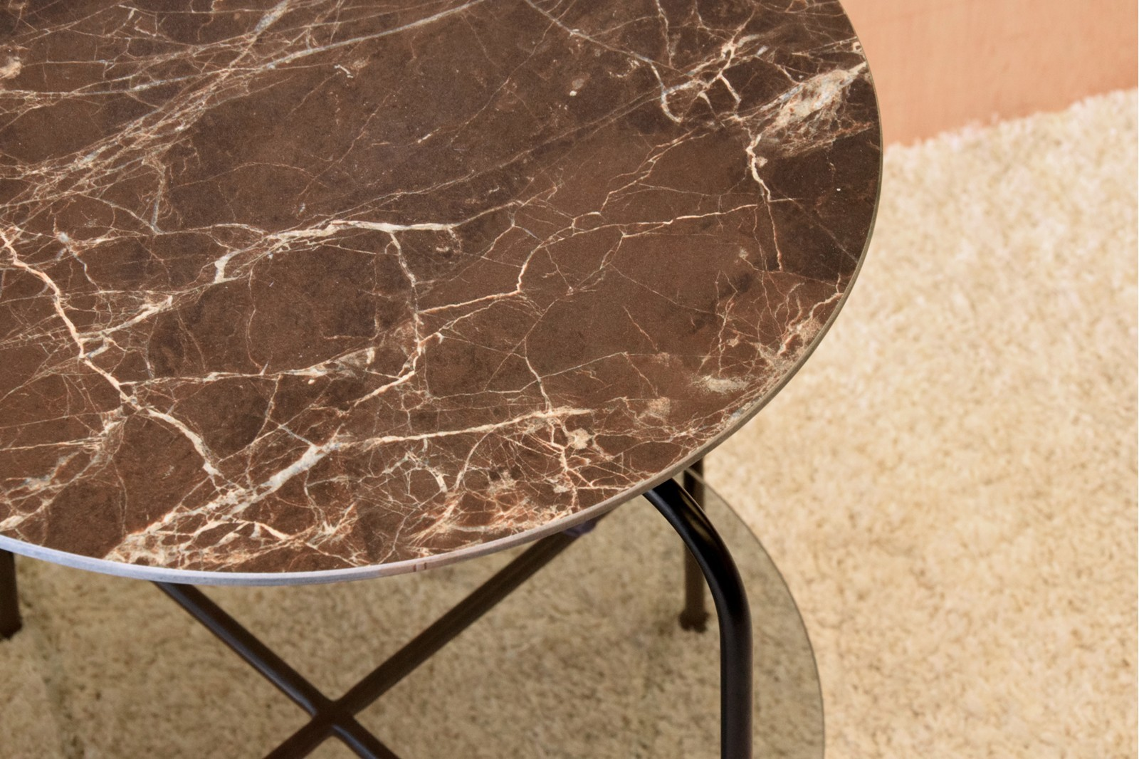 SIDE TABLE CERAMIC TOP GLASS SHELF . BLACK METAL