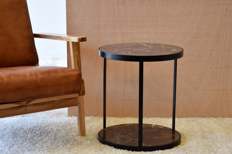 SIDE TABLE CERAMIC TOP AND BLACK METAL