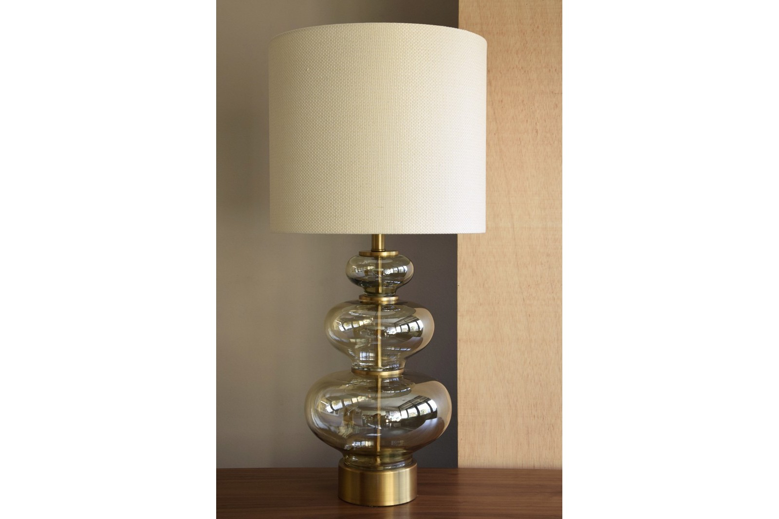 AMBER GLASS TABLE LAMP PAMPKIN WITH SHADE