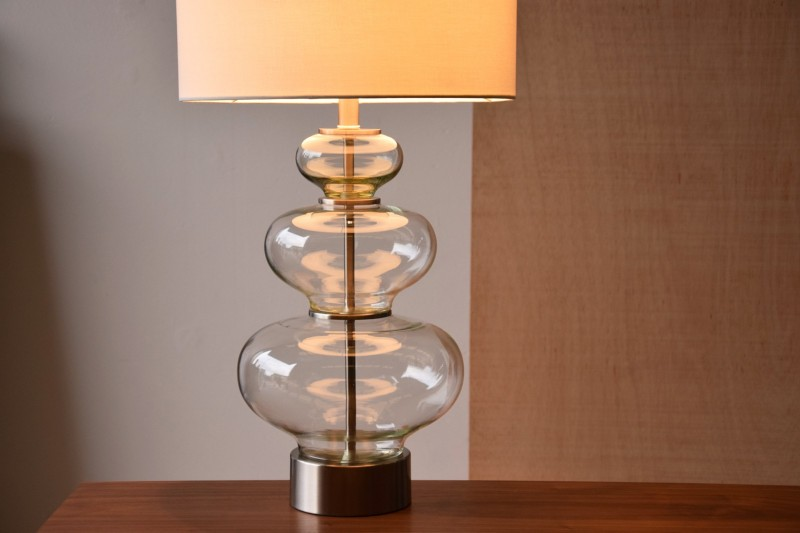 CLEAR GLASS TABLE LAMP PUMPKIN WITH SHADE