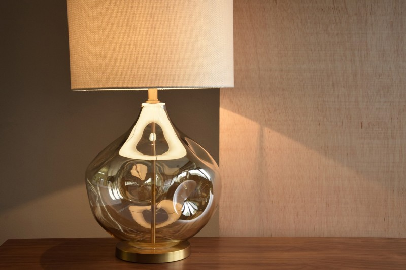 AMBER GLASS TABLE LAMP VOLCANO WITH SHADE