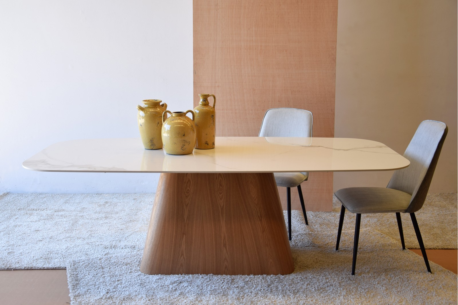 DINING TABLE. CERAMIC TOP AND MATT ASH VENEER BASE