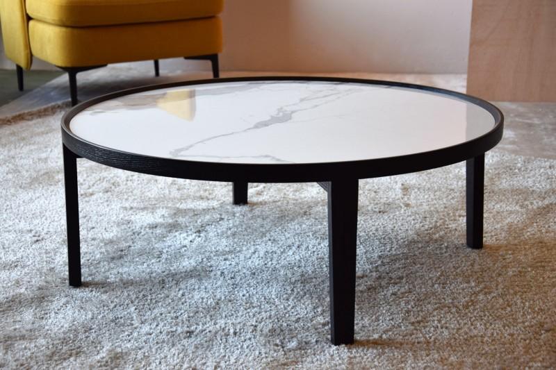 COFFEE TABLE. CERAMIC TOP AND MATT BLACK ASH BASE