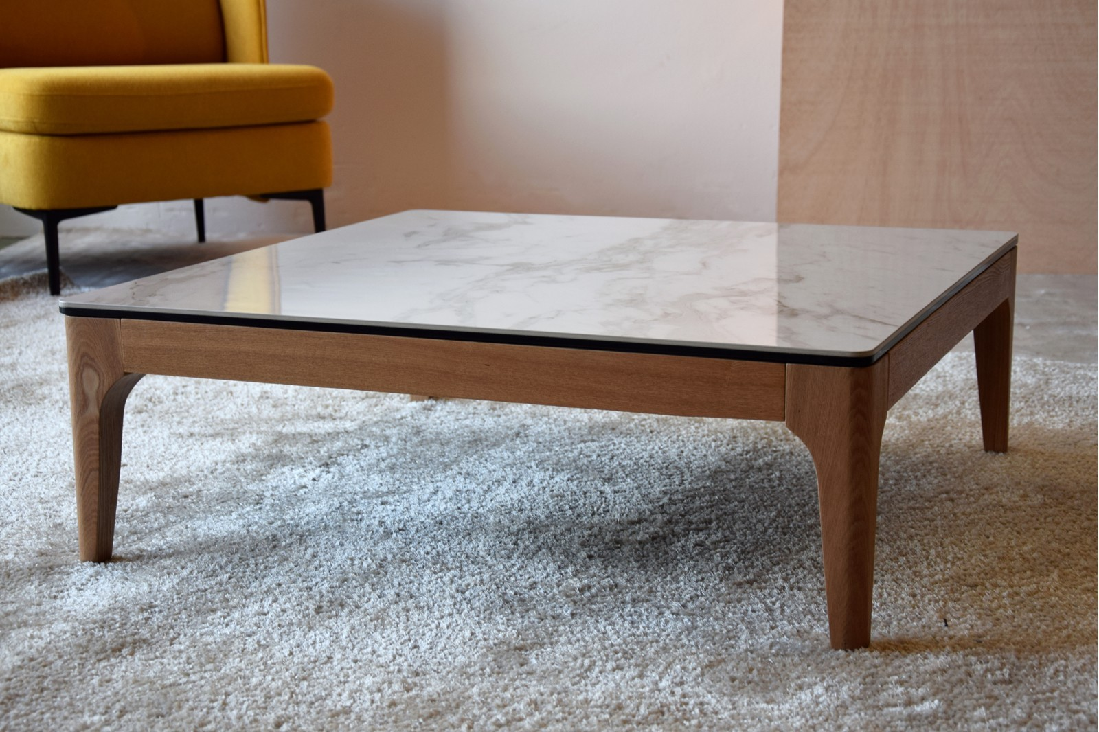 COFFEE TABLE. WHITE GREY CERAMIC TOP AND ASH BASE