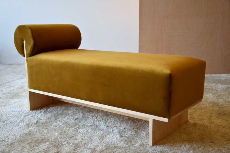 BENCH. GOLD-GREEN COLOR. NATURAL BEECH WOOD