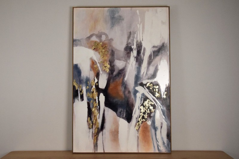 ABSTRACT PAINTING VOLCANO N1 WITH FRAME