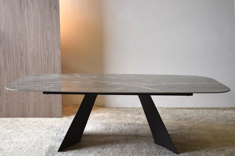 DINING TABLE GREY-WHITE CERAMIC TOP METAL BASE