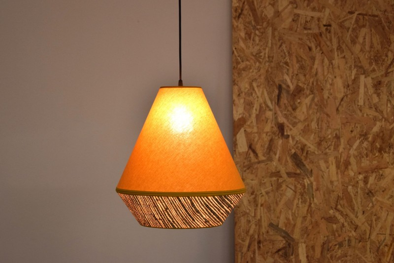 CEILING LAMP. RAFFIA-MUSTARD YELLOW