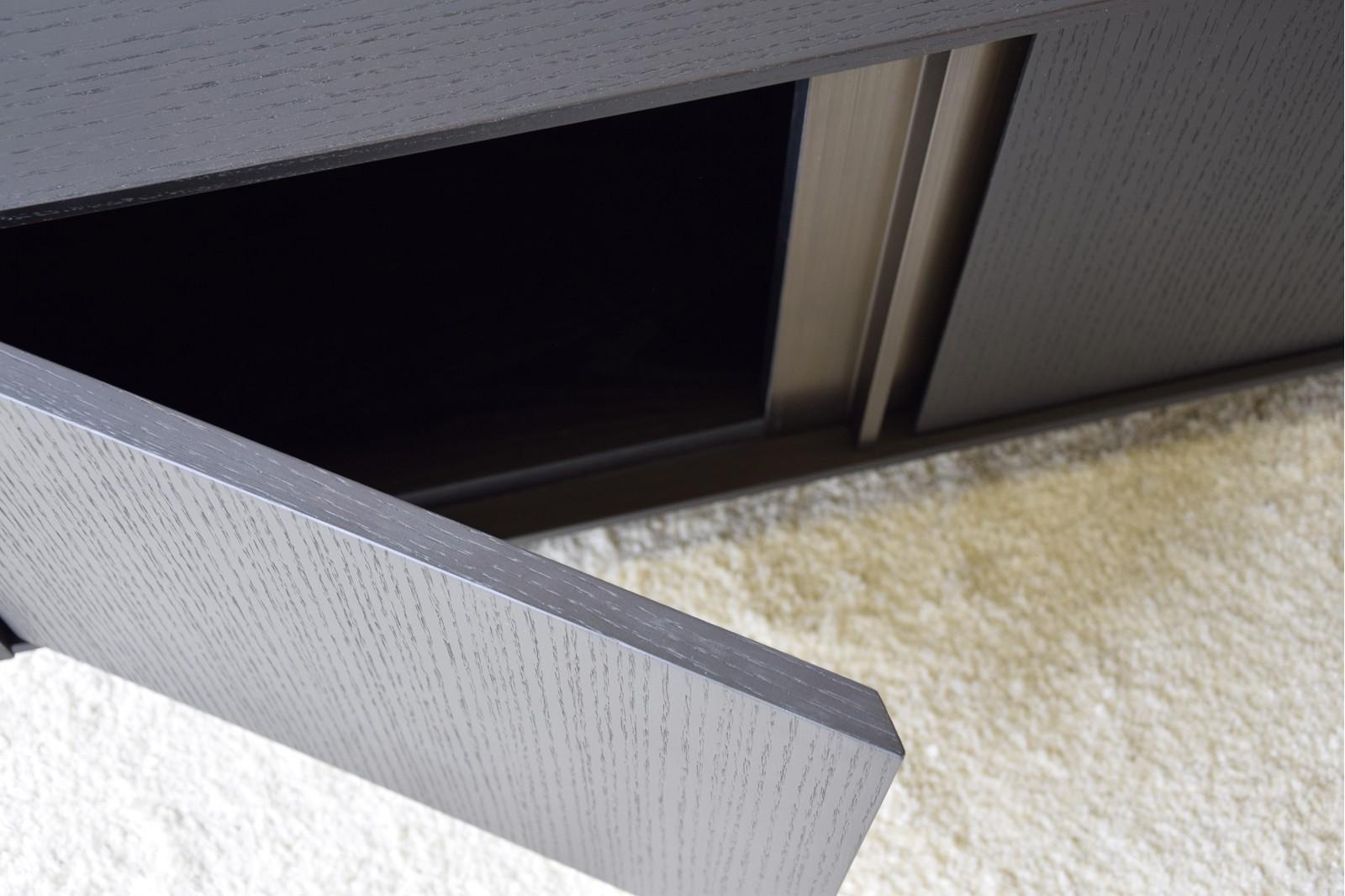 TV UNIT. MATT BLACK OAK WITH BRASS DETAILS