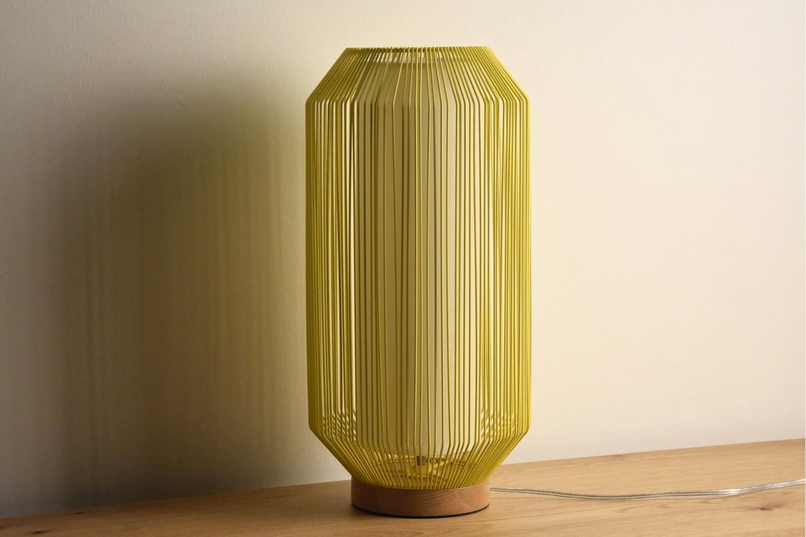 YELLOW METAL TABLE LAMP. BIG