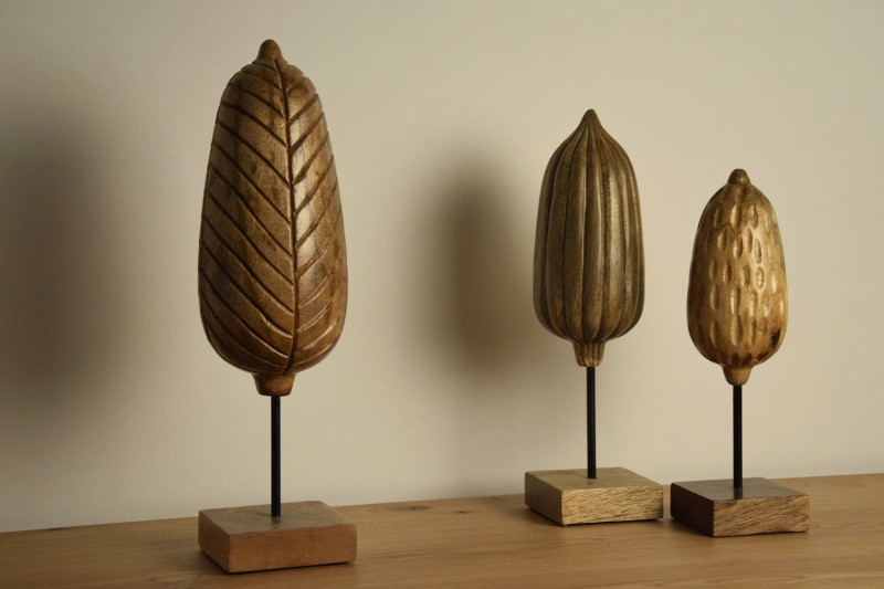 COLLECTION OF THREE CARVED WOODEN FIGURES