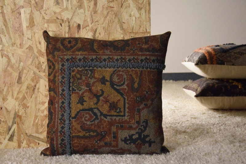 COTTON-WOOL CUSHION. OCHRE COLORS-BLUE EMBROIDERY