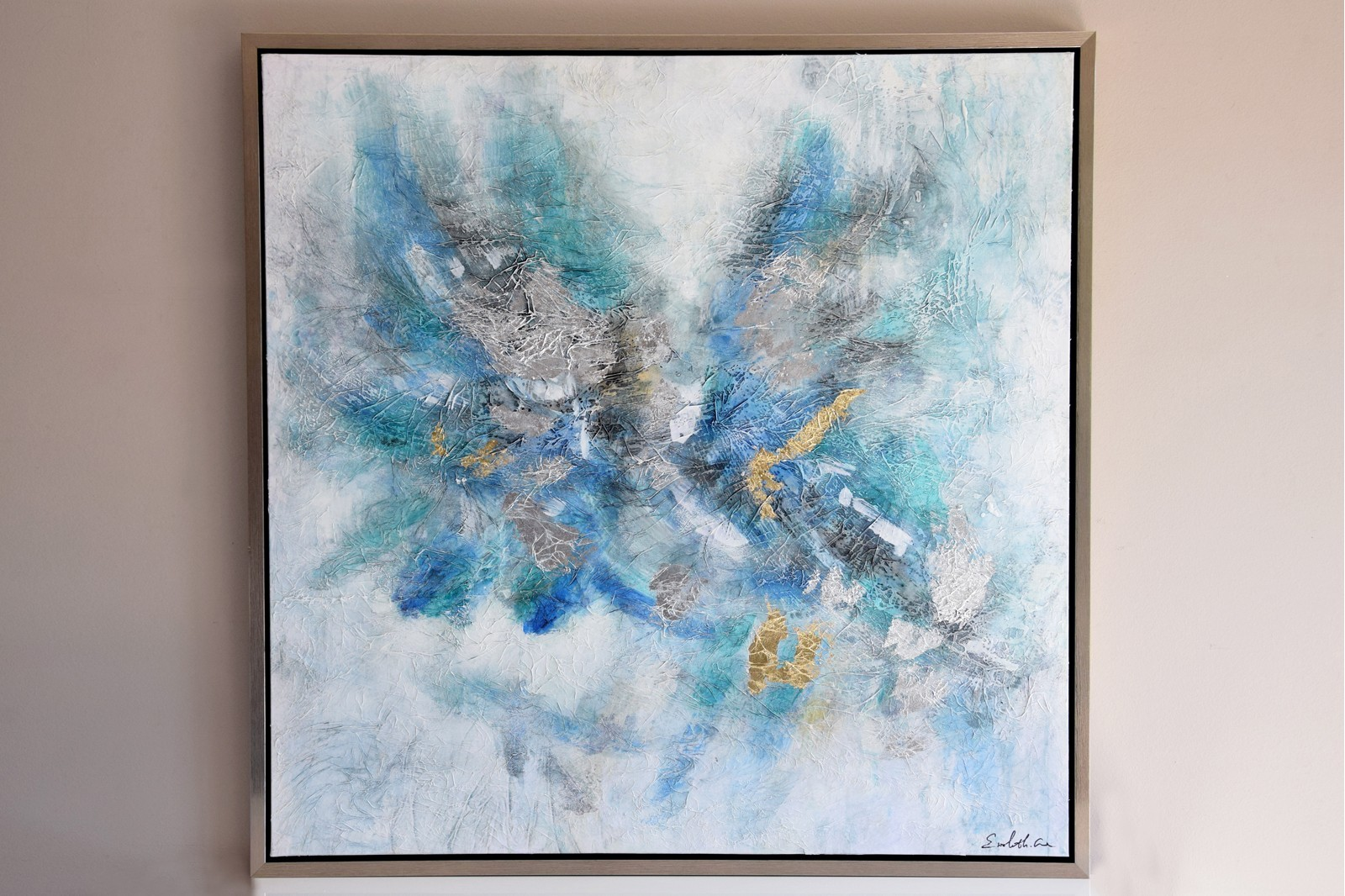 ABSTRACT PAINTING BLUE  N1 WITH FRAME